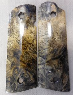 These grips are made in my own shop by my own hands, from beautiful Stabilized California Buckeye Burl. These grips are finished natural (no dyes