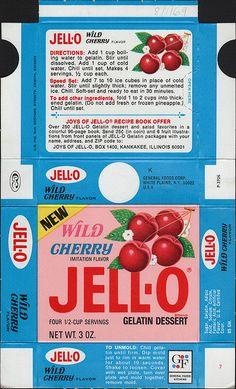 General Foods Jell-O Wild Cherry Gelatin Dessert box file flat - August 1 1969 by JasonLiebig, via Flickr