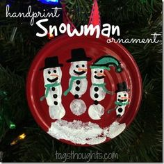 Handprint Snowman Ornament; a vegetable can lid, red paint, white paint, paint markers, a ribbon, glue and clear acrylic coating spray is all you will need.