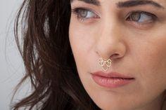 Tribal Septum Piercing, Lotus Septum Ring, Gold septum Jewelry, Solid Gold Septum, Nose Bling, Solid 14k Gold Nose Ring, 20g, 18g, 16g, 14g by StudioMeme on Etsy