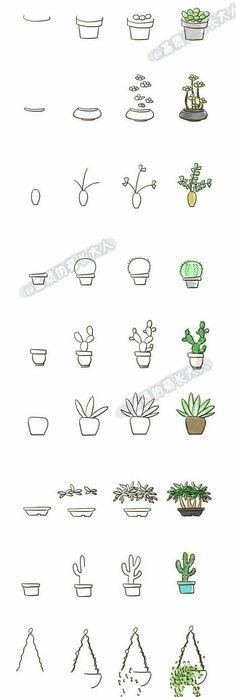 Dessin de griffonnage pour votre journal de balle, cactus succulentes étape par étape #bulletjo ... #balle #cactus #dessin #DrawingStepByStep #griffonnage #journal #succulentes #votre