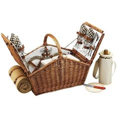 Picnic at Ascot Huntsman Basket For 4 With Blanket Wicker W/london By ($230) ❤ liked on Polyvore featuring home, kitchen & dining, sporting goods and picnic at ascot
