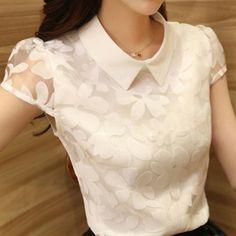 blusas de chiffon branca - Pesquisa Google