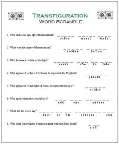 Orthodox Christian Education: Transfiguration Word scramble.  VCS