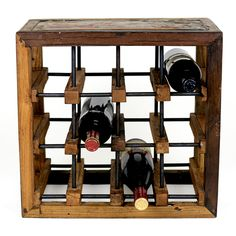 This 12-bottles wine rack blends an industrial feel with the spontaneity of nature. Constructed of reclaimed hardwoods, it highlights the unique patterns that the environment creates. Reinforced with metal bars, it brings an edgy vibe to your decor. $110 from www.projectdecor.com