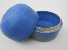 Bright Blue Ceramic Keepsake or Jewelry Box, Wheel Thrown