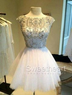 White Short Sequin Rhinestone round neckline Prom Dresses, Homecoming from Sweetheart Girl Like this.