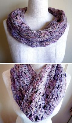 Free Knitting Pattern for Signs of Spring Cowl Cowl - Indian Cross Stitch cowl infinity scarf in sport weight multi-color yarn. Designed by Lisa R. Myers Manos del Uruguay. Pictured project by shippona who made a longer cowl in fingering weight.