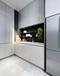 Interior design kitchen - Black and white kitchen Modern Kitchen Cabinets, Kitchen Cabinet Design, Modern Kitchen Design, Interior Design Kitchen, Kitchen Decor, Interior Paint, Luxury Interior Design, Luxury Home Decor, Interior Architecture