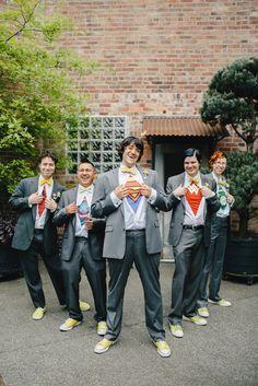 LOVING that one of the groomsmen was Wonder Woman!