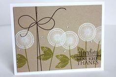 handmade card ... fanciful dandilions stamped on kraft ... sweet mod look ...