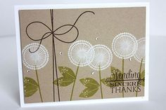 handmade card ... fanciful dandilions stamped on kraft ... sweet mod look ...