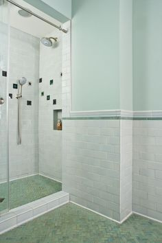 """Skyline Mid-Century Bathroom Mixing historic, Mid-century Skyline 3"""" x 6"""" subway tiles with Clay Squared's Copper Patina liners and 1"""" x 2"""" herringbone pattern floor tiles creates a stunning Mid-century Modern look. The homeowners added Cosmic Clouds and Cosmic Spots for more flavor."""