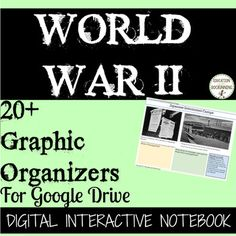 20+ ready-to use digital notebook pages onWorld War II are great for differentiation in a 1:1 classroom.   Students learn about and analyze topics related to World War II such as leaders, the Allies and the Axis, and the Japanese internment camps.Great for Google Drive and 1:1 classrooms, this resource includes:- clickable graphic organizers for students- color coded boxes for the big ideas- teacher tips- possible responses for notes on World War II- Black-line masters of all pagesPages…