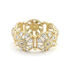 Crystal Filigree Stretch Bangle Bracelet