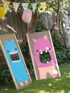 """Monster Party, -your face here-.... Instead of painting board, i got """"engineer prints"""" and taped to cardboard then cut it the faces"""