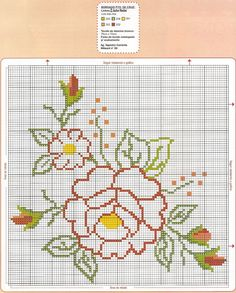Ponto cruz Cross Stitch Designs, Stitch Patterns, Crochet Patterns, Crochet Circles, Crochet Round, Cross Stitch Cards, Cross Stitch Flowers, Hand Embroidery Stitches, Cross Stitch Embroidery