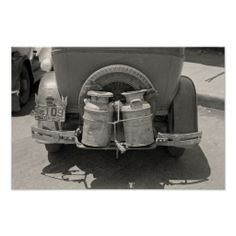 A farmer's automobile with two milk cans strapped to the bumper. Custom Posters, Vintage Posters, Vintage Photos, Old Milk Cans, Country Farm, The Good Old Days, Farm Life, Pretty Pictures, Custom Framing