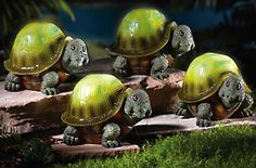 4 Piece Solar Garden Turtle Sculpture Set