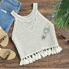 elevate your summer top with tassels tanktop summervibe tassels sheininpo - PIPicStats Blusas de Crochet Pull Crochet, Mode Crochet, Diy Crochet, Hand Crochet, Crochet Summer Tops, Crochet Crop Top, Crochet Blouse, Crochet Tops, Crochet Shawl