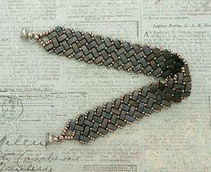 Linda's Crafty Inspirations: Bracelet of the Day - Half Tila Herringbone - Matte Silver Grey