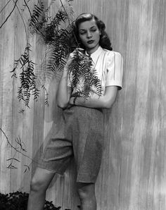 Mailman shorts because she could. | 39 Unbelievably Radiant Pictures Of Lauren Bacall. A woman who could wear menswear and hollywood glam.