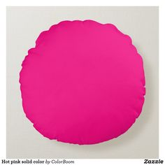 Hot pink solid color round pillow Purple Cushions, Pink Pillows, Colorful Pillows, Soft Pillows, Throw Pillows, Plum Purple, Burgundy, Round Pillow, Pink Room