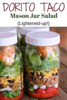 Dorito Taco Salad: Lightened-up salad in a jar recipe. Salad in Jar Recipe salad salad salad recipes grillen rezepte zum grillen Dorito Taco Salad Recipe, Taco Salad Recipes, Healthy Recipes, Fritos Taco Salad, Keto Taco Salad, Chef Salad, Fast Recipes, Cooking Recipes, Mason Jar Meals