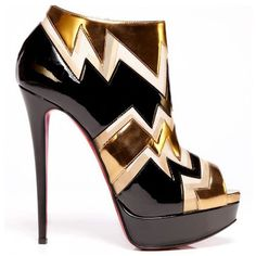 Christian Louboutin Ziggy 150mm Patent Leather And Metallic Ankle Boots Red Sole Shoes