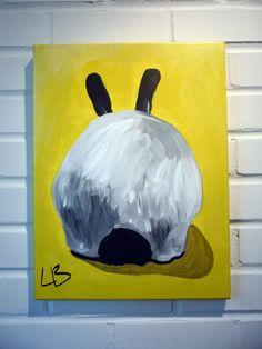 Love it!  Bunny Painting Canvas Art Original Acrylic on 12x16 Canvas. $100.00, via Etsy.