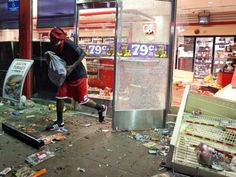 Black people took to the streets to protest the death of Michael Brown. They broke car windows, looted stores, stole ATM machines, and set a gas station on fire—all in the name of justice for Michael Brown. Al Sharpton was quickly notified and is on his way to Missouri to get paid. Thirty-two people were arrested. Riots in Missouri Turn Legitimate Outrage over Teen's Shooting into 3-Ring Circus