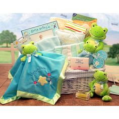 Frog themed baby gift basket if we ever have another baby the room will be frog themed :-)