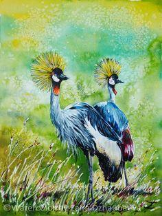 Crowned Cranes, Watercolor painting by Zaira Dzhaubaeva
