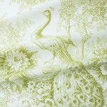 Peacock Toile Fabric in Pistachio Green found on FabricSeen.com