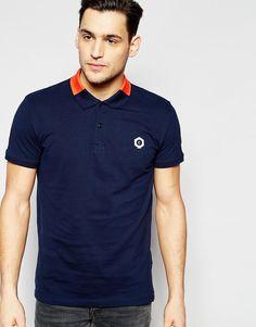 Image 1 ofJack & Jones Polo Shirt with Colour Block Collar