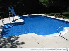 In Ground Vinyl Liner Swimming Pool With Full Width Steps