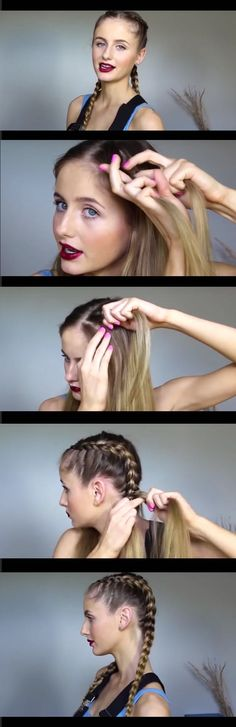 Best Hair Braiding Tutorials - How to Make Two French Braids By Yourself - Step By Step Easy Hair Braiding Tutorials For Long Hair, Pont Tails, Medium Hair, Short Hair, and For Women and Kids. Videos and Ideas for Dutch Braids, Messy Buns, Fishtail Braids, French Braids, Black Hair, Blondes, And Even For Headbands - https://thegoddess.com/best-hair-braiding-tutorials