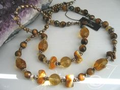 """Various golden pearls and stones in a """"one of"""" original designer necklace … a real MUST HAVE! Long Pearl Necklaces, Gold Pearl Necklace, Pearl Jewelry, Pearl Color, Necklace Designs, Jewelry Design, Beaded Bracelets, Jewellery, Pearls"""