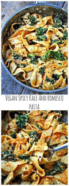 Vegan Spicy Kale and Romesco Pasta Quick sauteed garlicky, spicy kale. Tossed together with pasta. This vegan spicy kale and romesco pasta is the perfect healthy meal! Vegan Foods, Vegan Dishes, Vegan Vegetarian, Vegan Recipes, Cooking Recipes, Salad Recipes, Vegan Ideas, Kitchen Recipes, Cooking Tips