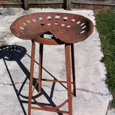 Rusty salvage vintage industrial stool with old grungy tractor seat :)