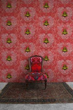 Imperial Apiary wallpaper in Red by Timorous Beasties Secret House, Timorous Beasties, Mural Wall Art, Funky Furniture, Designer Wallpaper, Wallpaper Designs, New Wallpaper, Home Decor Trends, Decor Ideas