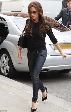 Driving around in style: In between shops, at least Victoria could take the weight off her heels in her chauffeur-driven Mercedes