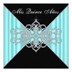 Diamond Turquoise Blue and Black Sweet 15 Birthday Invitation