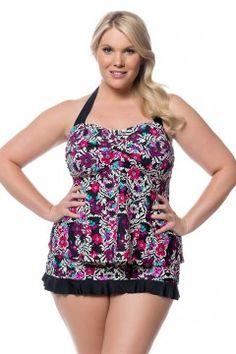 7e45c811cc5 Jessica Simpson It Girl Twist Plus Size Tankini Top-IG169410-Multi Plus  Size Tankini