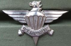 South African 3rd Parachute Battalion Cap Badge a nice white metal cap badge in near mint condition. The badge was worn in the early 1980's and is number C3945 in Colin Owens Book, Military Badges and Insignia of Southern Africa.
