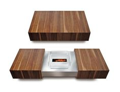 Modern Matchbox Coffee Table By Schulte Design Conceals Ethanol Fireplace.