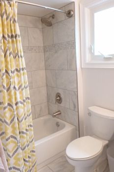 Main Bathroom, marble, tiled shower, west elm curtain West Elm Curtains, Bathroom Marble, Alcove, Bathtub, Shower, Decor, Standing Bath, Decoration, Bath Tub