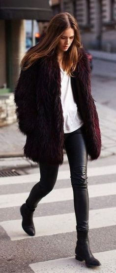 #street #style / faux fur + leather