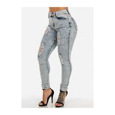 High Waisted Distressed Ice Wash Denim Jeans ($30) ❤ liked on Polyvore featuring jeans, high waisted distressed jeans, high rise white jeans, high waisted ripped jeans, destroyed jeans and ripped jeans