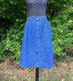 1fe9ab5a60 Denim Button Front Western Skirt / Denim Button Up Long Skirt / Denim Ranch  Skirt / Blue Denim Skirt / Chic Denim Button Up Skirt - Size 12
